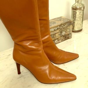 "Tall leather boots-3.5"" heel. Great condition"